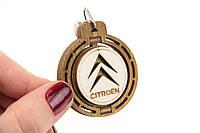 Брелок для ключей деревянный с вращающимся логотипом Citroen (Ситроен)