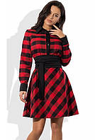 Платье-рубашка красного цвета из шерстяного трикотажа