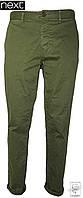 Брюки зауженные Next р. 32R хаки зеленые мужские джинсы весенние демисезонные
