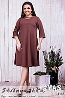 Платье для полных Шик коричневое