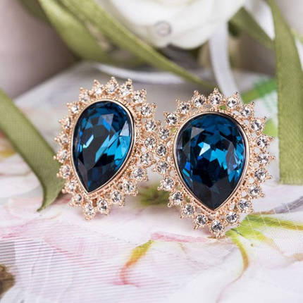 Серьги с кристаллами Сваровски es11 синие, фото 2