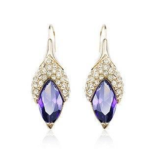 Сережки з кристалами Сваровські es25 фіолетові