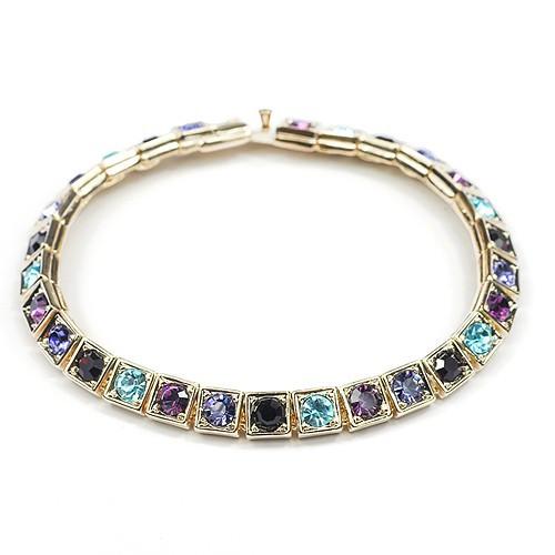 Браслет с кристаллами стразами Сваровски (Swarovski) с разноцветными камнями bs22