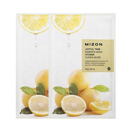 Тканевая маска с экстрактом лимона и витаминами Mizon Joyful time vitamin essence mask  , фото 2