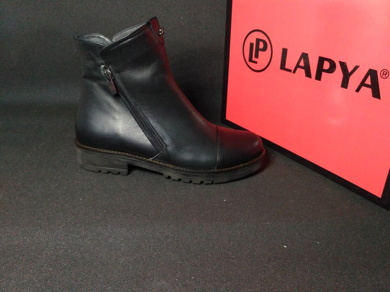 Ботинки женские кожаные зимние (черные), ТОП-реплика
