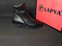 Ботинки женские кожаные зимние (черные), ТОП-реплика, фото 1