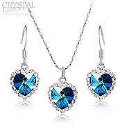 Комплект с синими кристаллами Swarovski (Сваровски) kp10