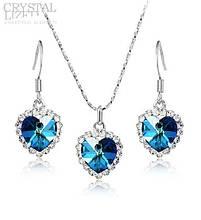 Комплект набор украшений с синими кристаллами Swarovski (Сваровски) бижутерия kp10