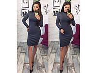 """Модное женское платье ткань """"Дайвинг на флисе"""" со вставками из эко-кожи 44, 46 размер норма"""