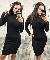 """Модное женское платье ткань """"Французский трикотаж на флисе"""" со вставками из эко-кожи 42, 44, 46 размер норма"""