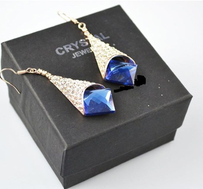 Серьги с синими кристаллами камнями Swarovski (Сваровски) es252
