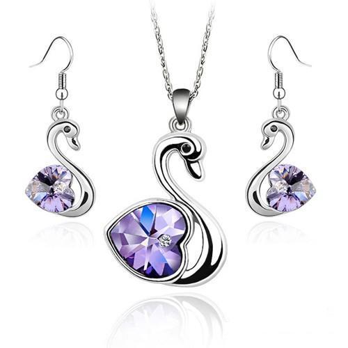 Комплект набор украшений с кристаллами Swarovski (Сваровски) с лебедями фиолетового цвета бижутерия kp19