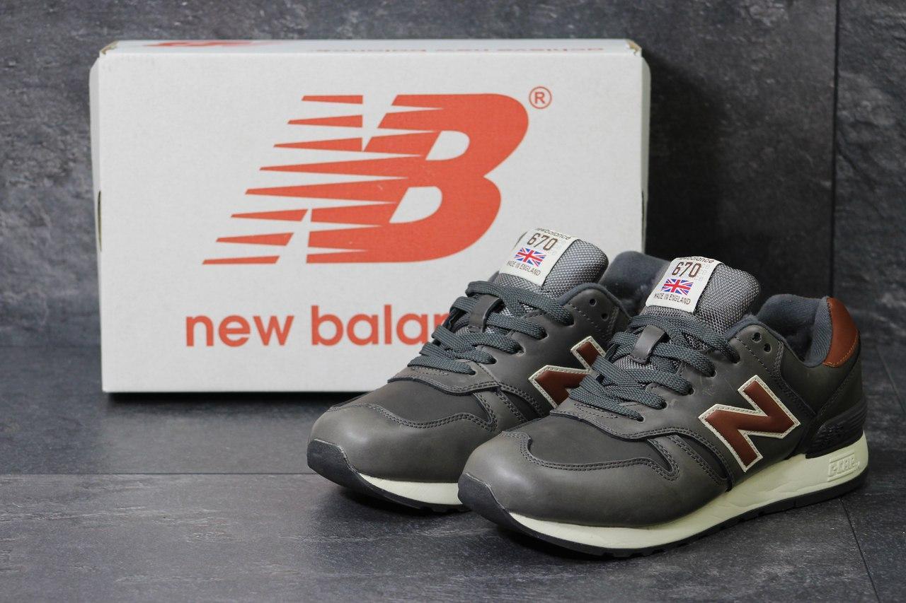 Мужские зимние кроссовки New Balance 670 кожаные,оливковые 42р