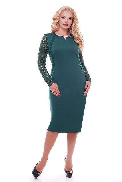 Женское нарядное платье с гипюром Аделина / размер 52  цвет изумруд