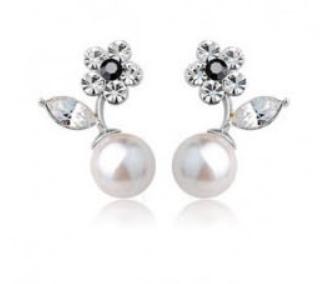 Сережки з перлами кристалами камінням Сваровскі (Swarovski) es302, фото 2