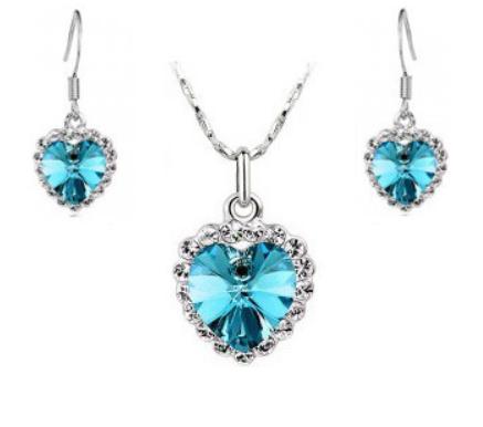 Комплект набор украшений с голубыми кристаллами Swarovski (Сваровски) бижутерия kp40