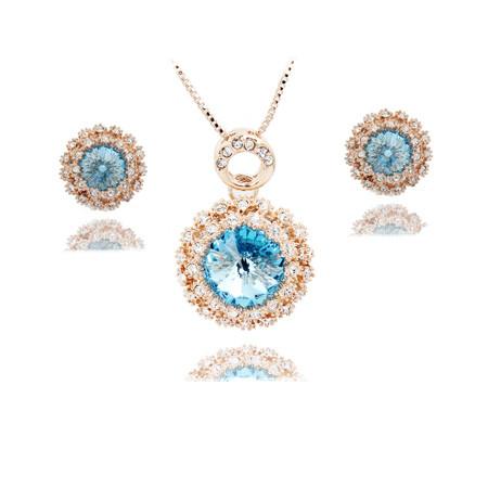 Комплект набор украшений с голубыми кристаллами Swarovski (Сваровски) kp43