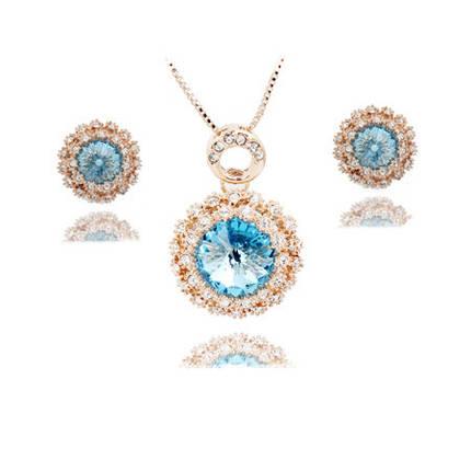 Комплект набор украшений с голубыми кристаллами Swarovski (Сваровски) kp43, фото 2