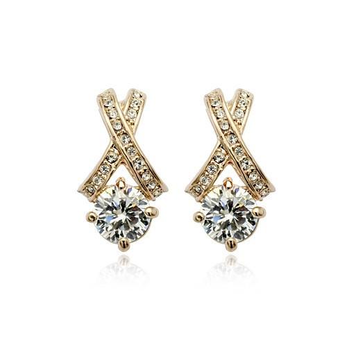 Серьги с белыми кристаллами камнями Swarovski (Сваровски) es336