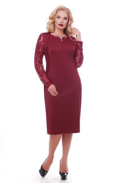 Женское нарядное платье с гипюром Аделина / размер 50,52,54 цвет марсала
