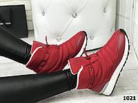 Женские спортивные ботинки- кроссовки красные плащевка + вставки эко-кожи