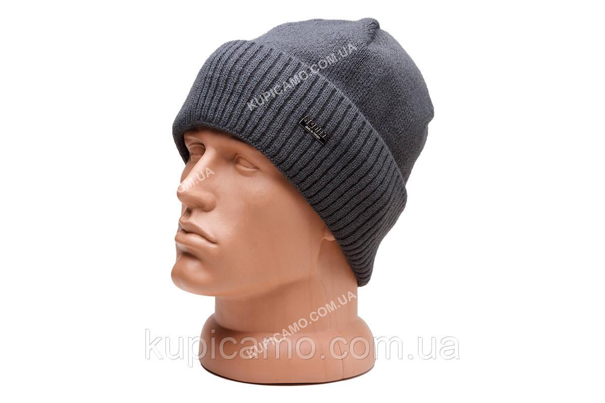 """Теплая вязаная шапка с подкладкой флис """"Серый"""""""