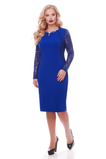 Женское нарядное платье с гипюром Аделина / размер 56, 58 цвет электрик