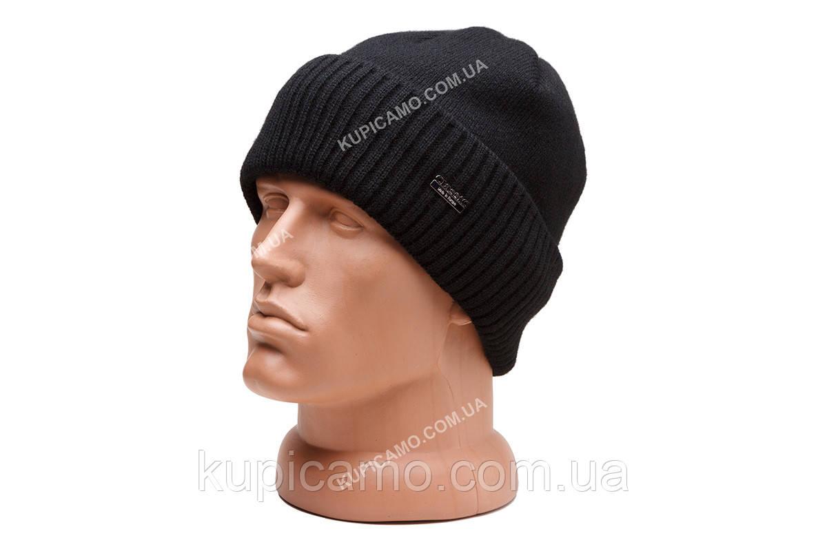 """Теплая вязаная шапка с подкладкой флис 'Черный"""""""