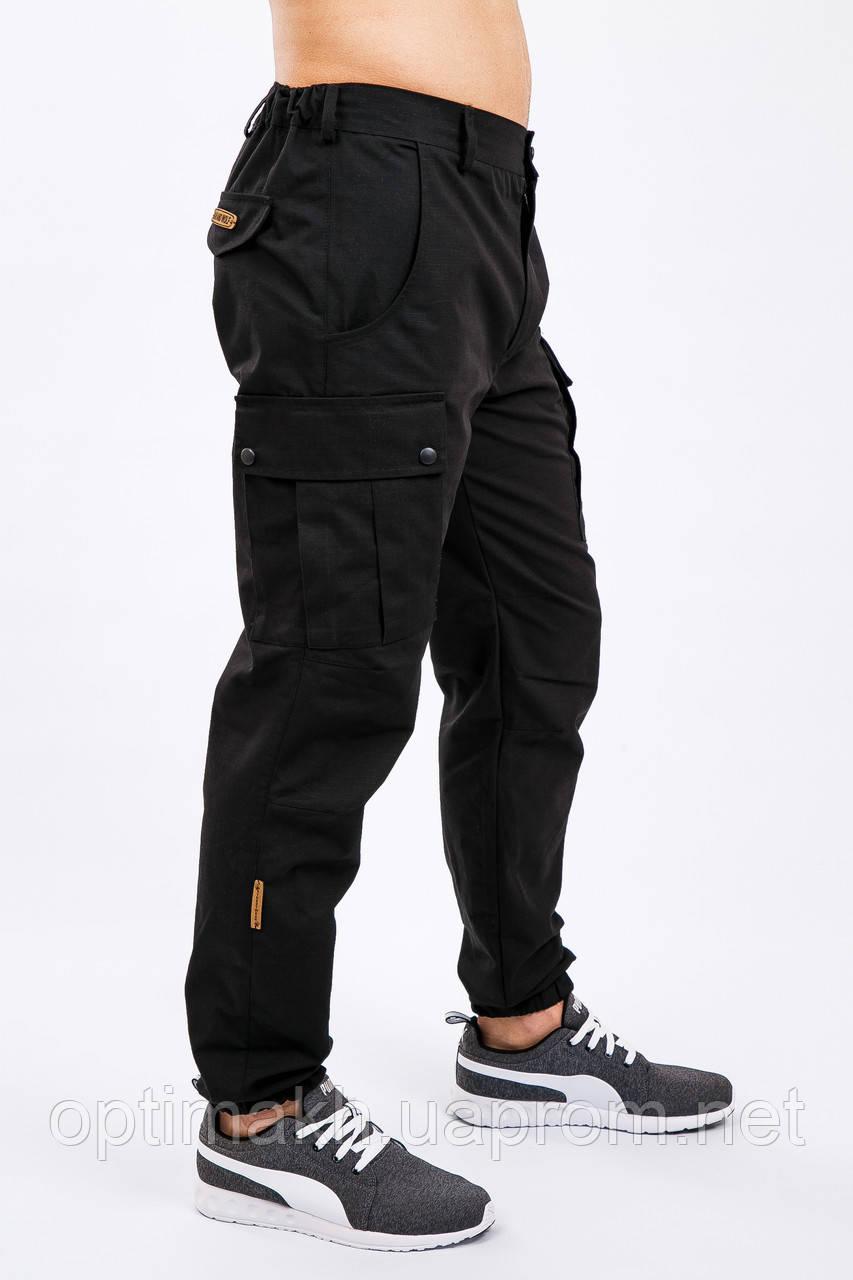 9bfdd47a Брюки мужские милитари чёрные Cargo MAN AND WOLF street wear рип-стоп (50/