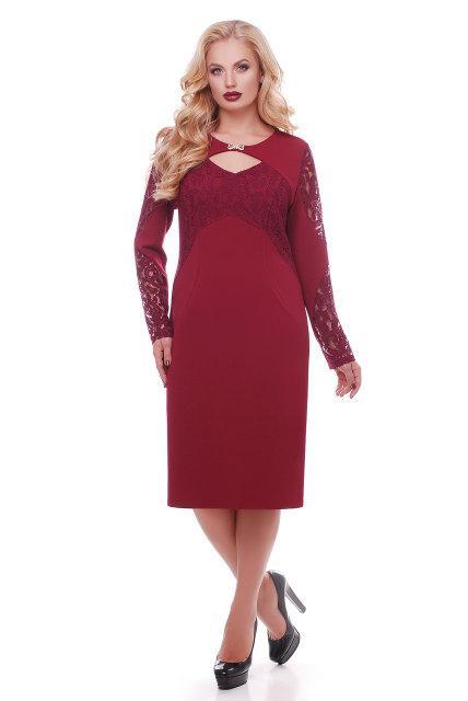 Женское романтичное платье Шерилин / размер 54 цвет марсала