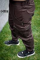 Брюки мужские милитари коричневые MAN AND WOLF Cargo pants cotton оптом