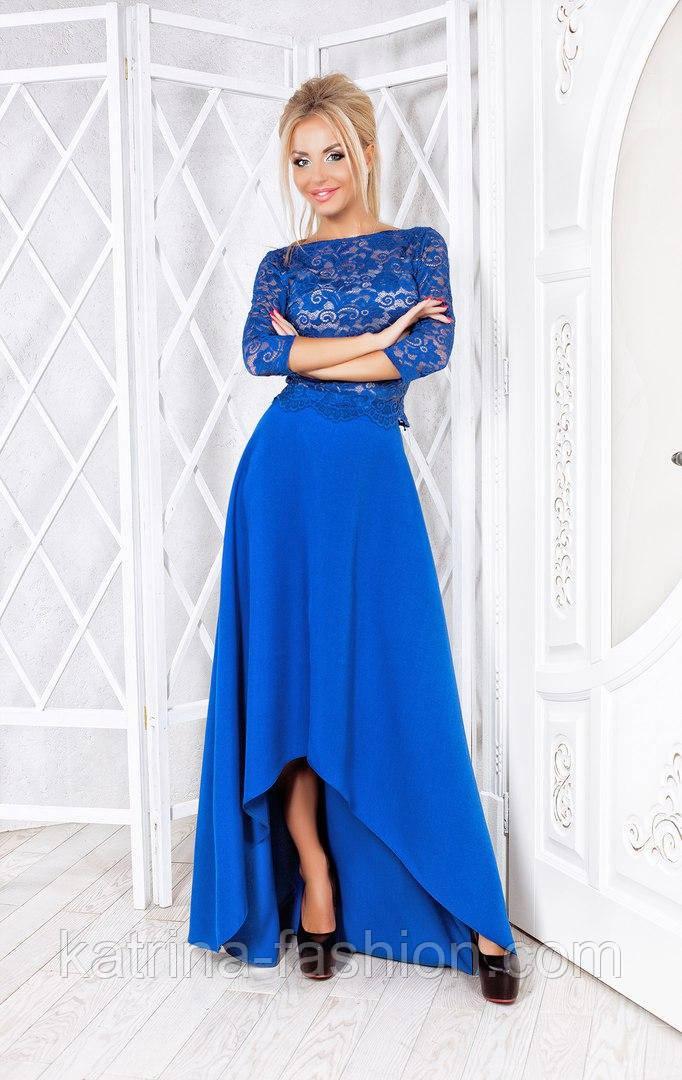 Женский модный костюм: блуза гипюр и юбка асимметрия (3 цвета)
