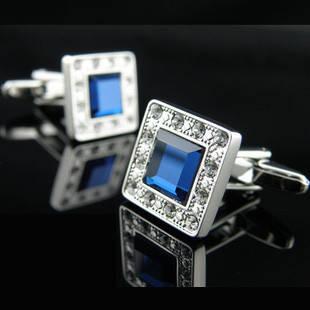Запонки с синими кристаллами камнями Swarovski (Сваровски) zs20, фото 2