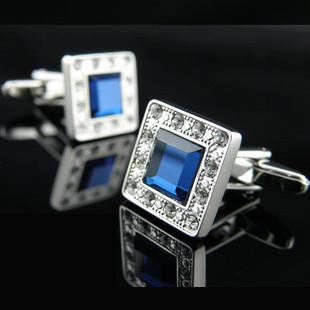 Запонки с синими кристаллами камнями Swarovski (Сваровски) zs20
