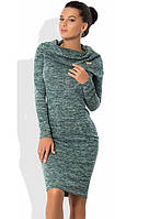Светло-бирюзовое платье футляр из трикотажа меланж с брошкой