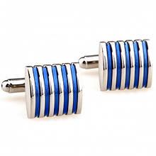 Запонки полосатые с синими вставками zs68