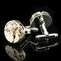Запонки Watch Cufflinks Steampunk Silver Movement zs82