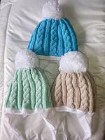 Зимние шапки для новорожденных на махре Ажур