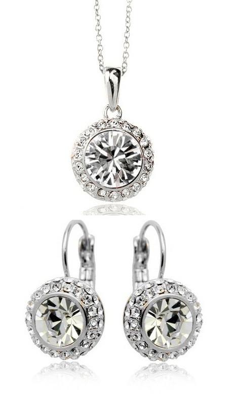 Комплект набор украшений с белыми кристаллами Swarovski (Сваровски) kp68