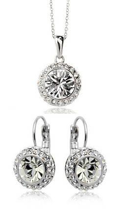 Комплект набор украшений с белыми кристаллами Swarovski (Сваровски) kp68, фото 2