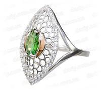 """Женское серебряное кольцо с золотыми пластинами """"Адель"""""""