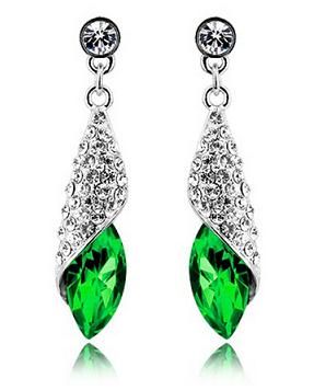Серьги с кристаллами Swarovski es3-green, фото 2