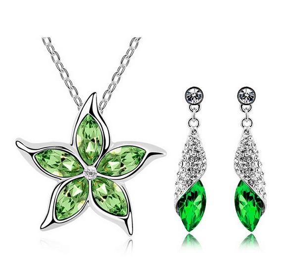 Комплект набор украшений с зелеными кристаллами Swarovski (Сваровски) бижутерия kp128