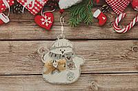 Новогодняя игрушка на елку снеговичок с бантиком