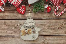 Новогодняя игрушка на елку снеговичок с бантиком,3D эффект