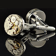 Запонки Watch Cufflinks Steampunk Silver Movement zs82s