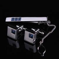 Комплект / набор запонки и зажим для галстука с синими камнями кристаллами Swarovski (Сваровски) kz10