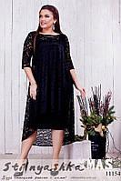 Нарядное платье с гипюровой накидкой батал черное, фото 1