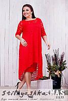 Нарядное платье с гипюровой накидкой батал красное, фото 1