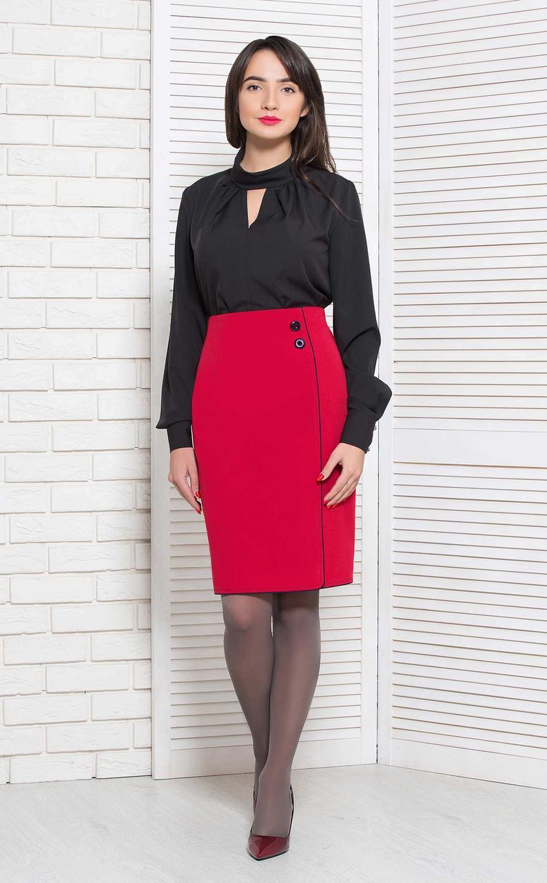Красивая стильная чёрная класическая блуза Modna KAZKA